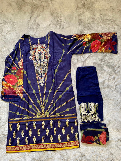 Pakistani Embroidered Lawn Dress Cotton - Navy Blue