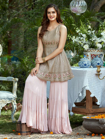 Party Wear Resham Designer Palazzo Suit