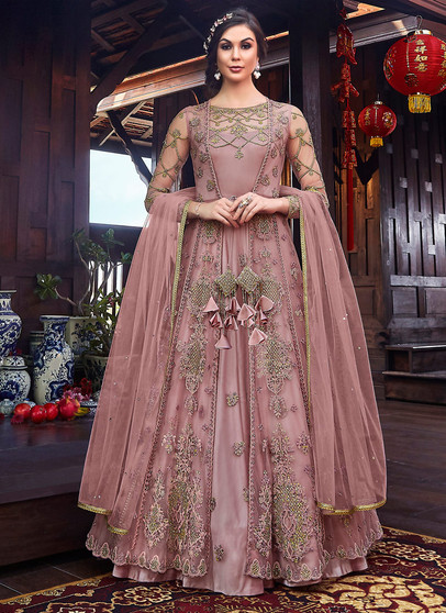 Heavy Embroidery Work Anarkali Suit With Shrug Top