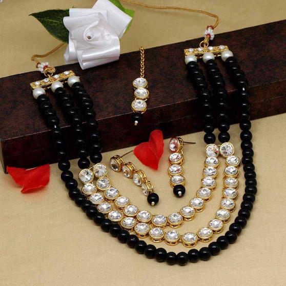 Black Color Kundan Necklace Set