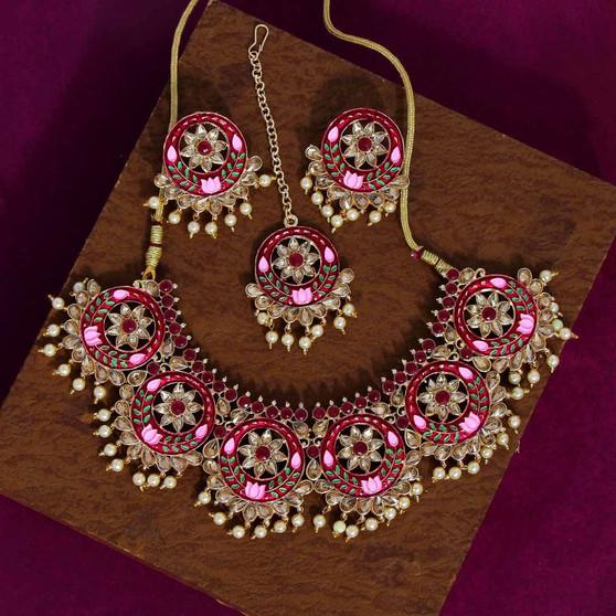 Maroon Color Kundan Mint Meena Necklace Set