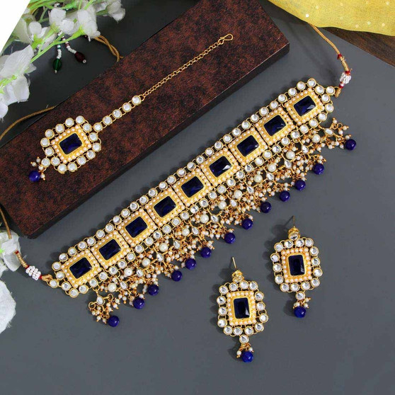 Blue Color Kundan Necklace Set