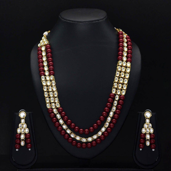 Maroon Color Imitation Pearl Kundan Necklace With Earring
