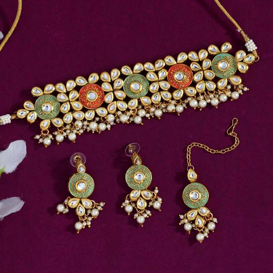 Drak Peach & Pista Green Color Kundan Mint Meena Necklace Set