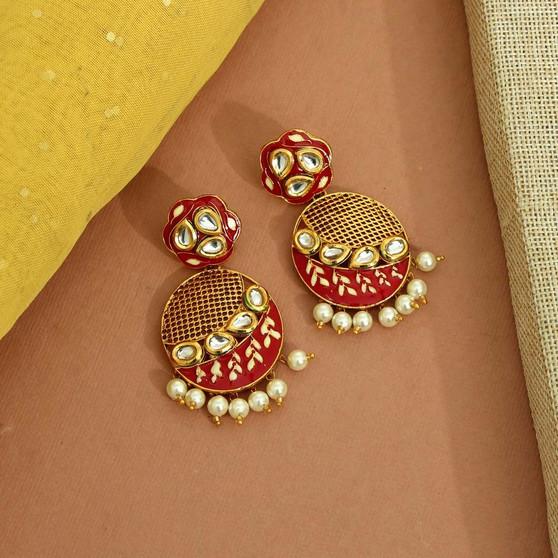 Red Color Kundan Meenakari Earrings