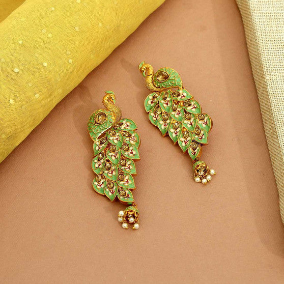 Pista Green Color Kundan Meenakari Earrings