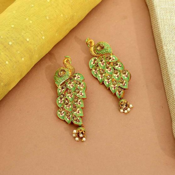 Pista Green Color Kundan Meenakari Earrings