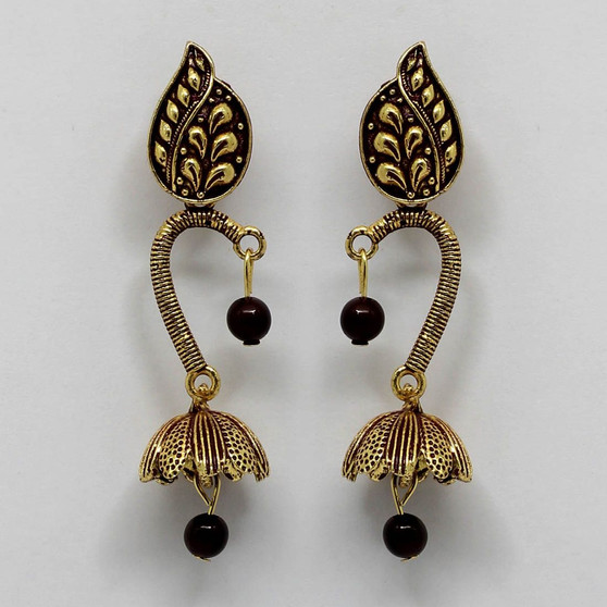Maroon Color Beads Oxidised Earrings
