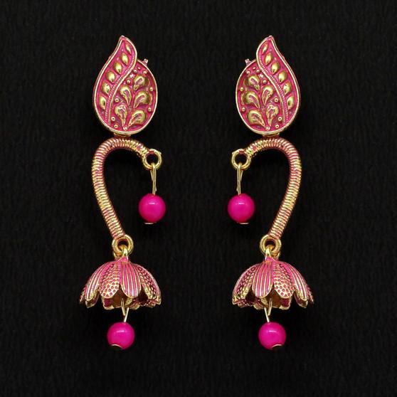 Rani Color Beads Oxidised Earrings