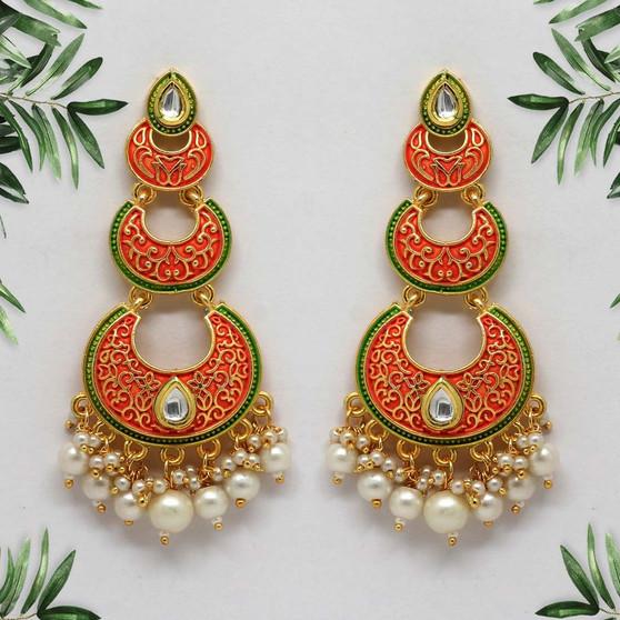 Dark Peach Color Mint Meena Earrings