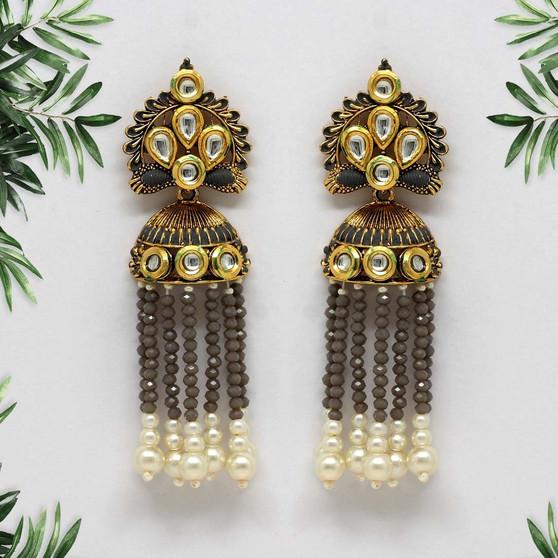 Grey Color Kundan Antique Earrings