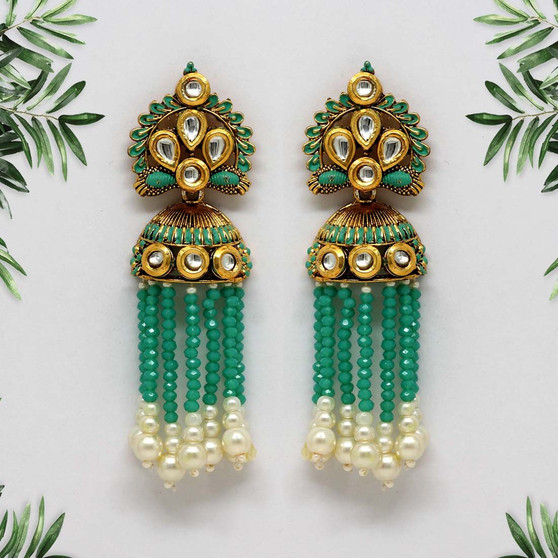 Rama Green Color Kundan Antique Earrings