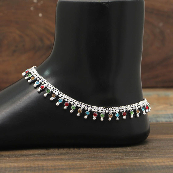 Multi Color Rhinestone Anklets