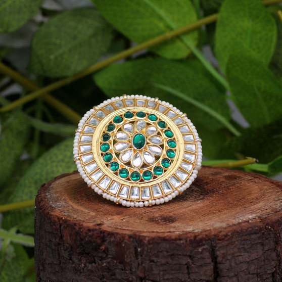 Green Color Kundan Ring