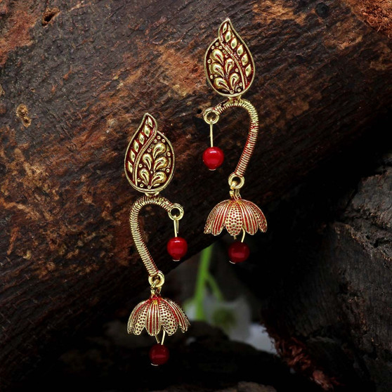 Red Color Beads Oxidised Earrings