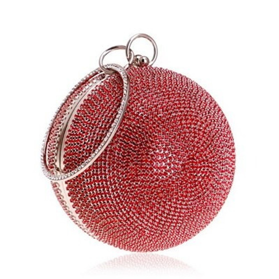 Red Crystal Women Shoulder Chain Clutches