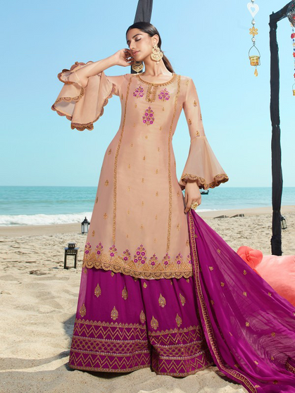 Satin Georgette Embroidery Hand Work Skirt Palazzo Suit