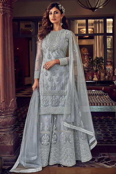 Georgeous Butterfly Net Wedding Palazzo Suit