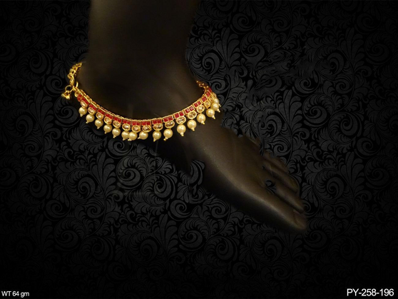 DOUBLE SQUARE OVAL STONE ANTIQUE PAYAL (Single Piece)