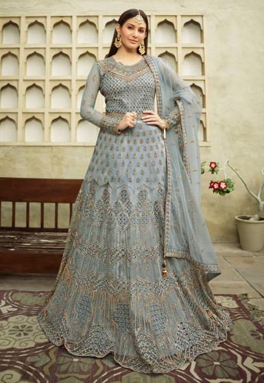Embroidery Net Swarovski Work Salwar Suit Grey