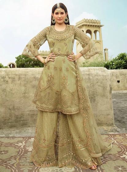 Embroidery Net Swarovski Work Salwar Suit Green
