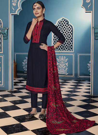 Embroidery Work Churidar Suit Navy Blue