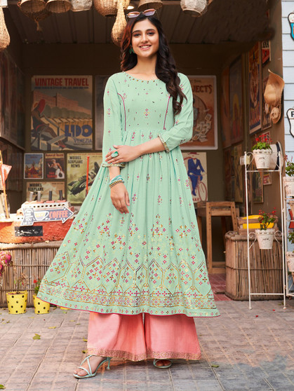 Printed Rayon Long Kurti Pista Green