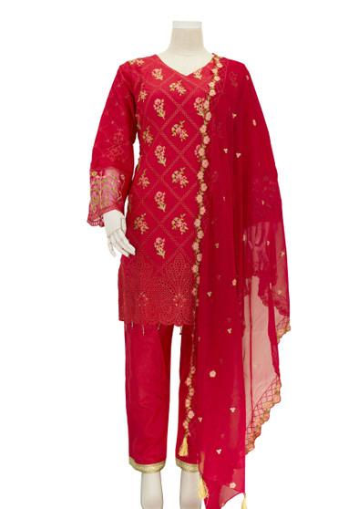 New Designer Cotton Salwar Suit Red