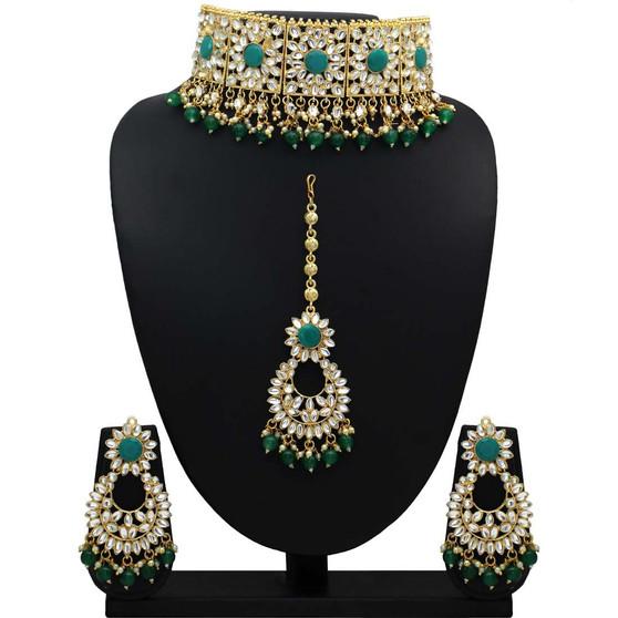 New Kundan Necklace Set Green
