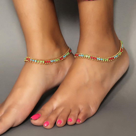 Beautiful Designe New Glass Stone Anklets