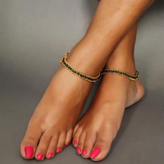 New Designe Rhinestone Anklets Green