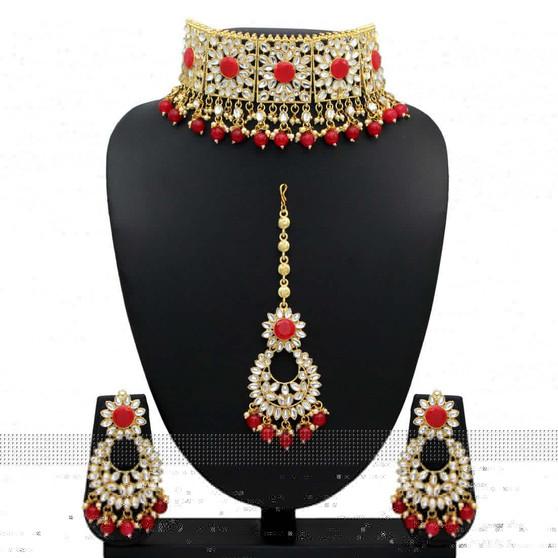 Gorgeous Red Kundan Necklace Set