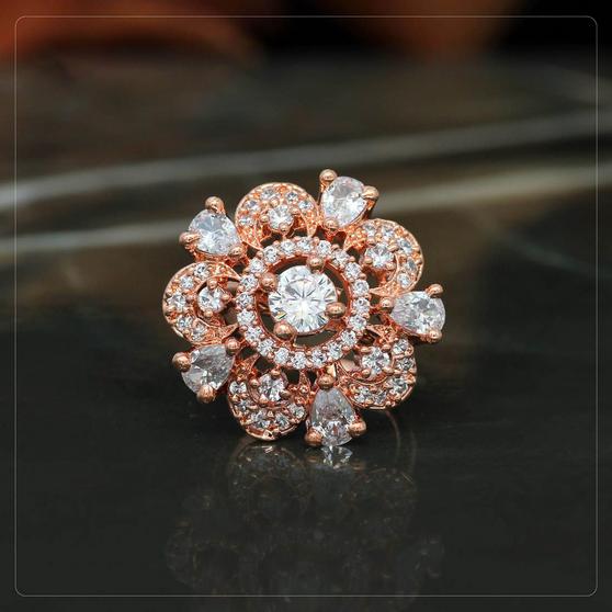 Rose Gold American Diamond Finger Ring White Color