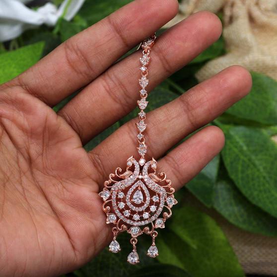 Rose Gold American Diamond Maang Tikka White Color