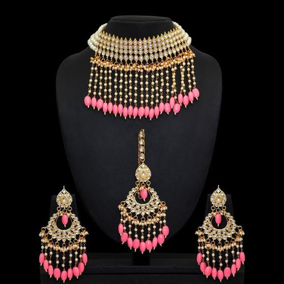 Kundan Necklace With Earring & Maang Tikka