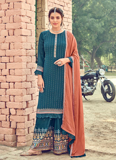 Teal Blue Georgette Embroidery Palazzo Suit