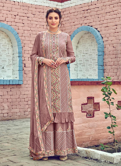 Blush Pink Georgette Embroidery Palazzo Suit