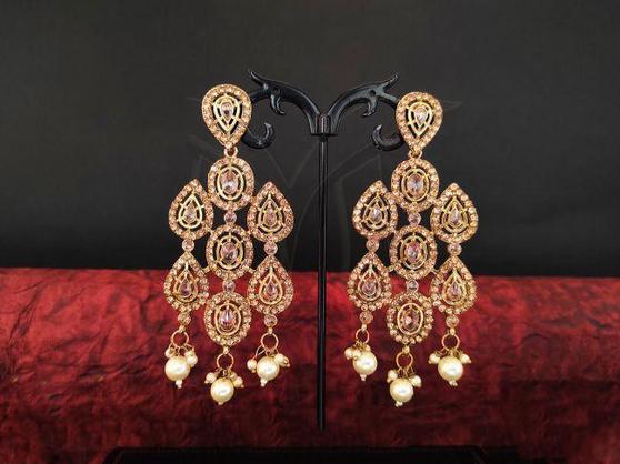 Gold Color Kundan Meenakari Earrings
