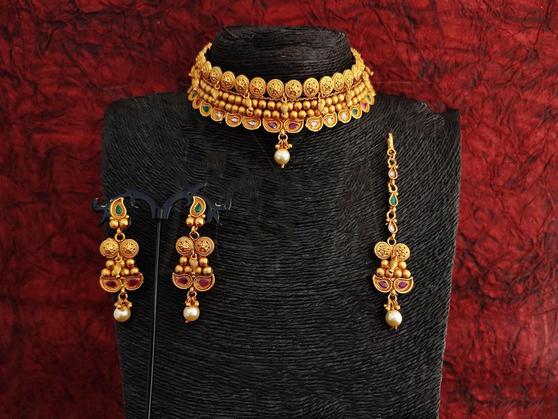 Matte Gold Style Designer Necklace Set