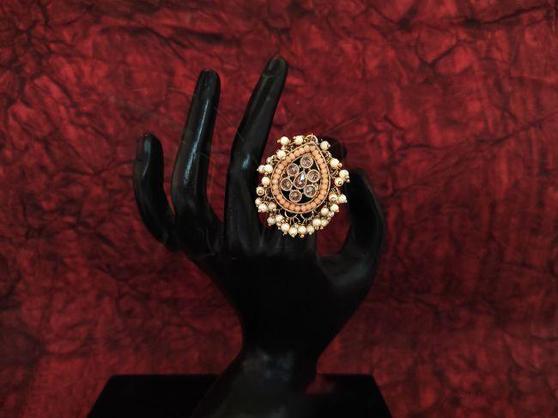 Beautiful Designer Party Wear Finger Ring White