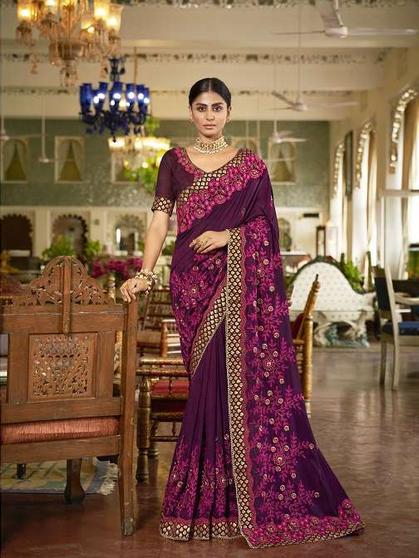 Designer Wedding Wear Heavy Embroidery Saree
