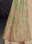 Green satin Embroidery work Gown