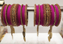 Magenta Bridal Jhumki And Jhumar Style Bangle
