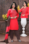 Red Color Embroidery Work Readymade Patiyala Suit