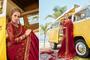 Beautiful Silk Embroiderd Wedding Wear Saree