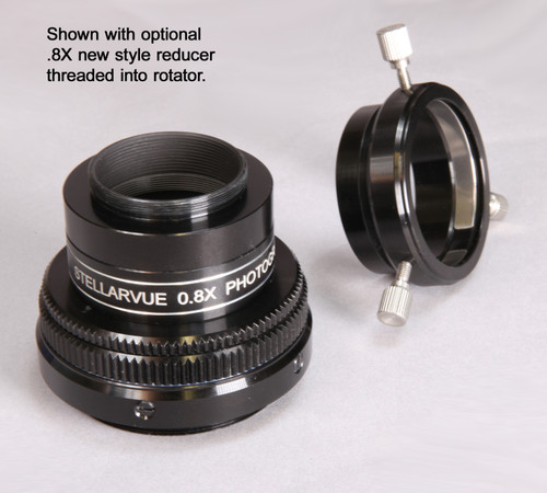 """Rotator with 2"""" adapter removed and .8X reducer/flattener installed."""