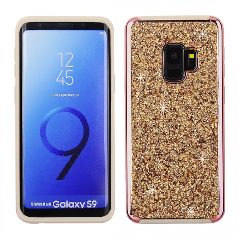 Cube® - Samsung Galaxy S9 - Rose Gold Rock Crystal Studded Back Cover With Rose Gold Chrome Bumper on Peach TPU Skin