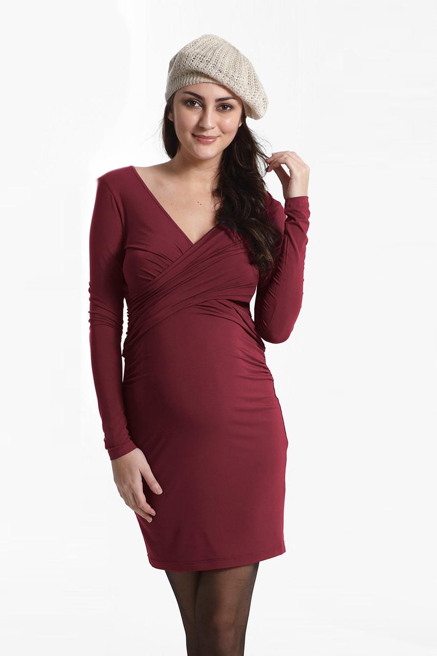 e0637a2a585 Mothers En Vogue Cross-over Long-sleeved Nursing Dress, Dark Red - Izzy's  Mum