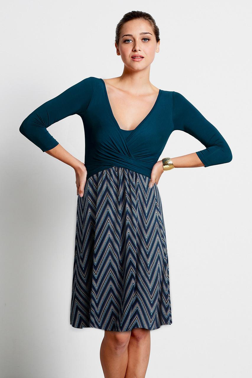 60ac15ca0a047 Mothers En Vogue Wrap 3/4 Sleeve Nursing Dress, Dotted Zigzag Print -  Izzy's Mum