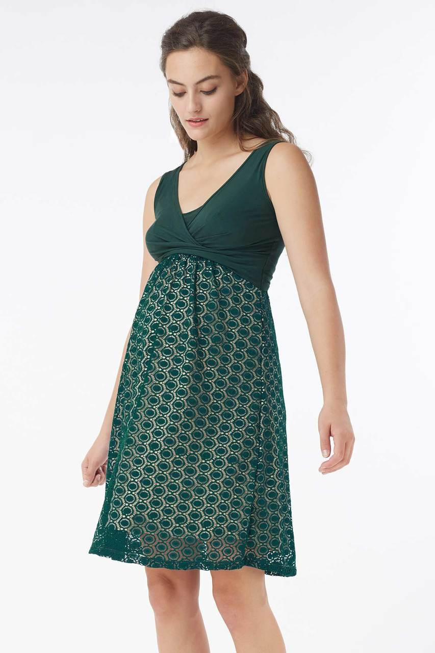 2b890127e88 Mothers En Vogue Inez Sleeveless Nursing Dress, Myrtle Green - Izzy's Mum